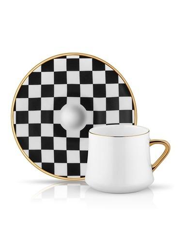 Sufi Çay Fincan Set 6'lı Dama Siyah Beyaz-Koleksiyon